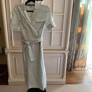 Habitual mint colored collared linen wrap dress